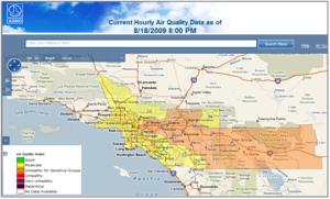 AQMD Chart of LA Area 17 Aug 2009