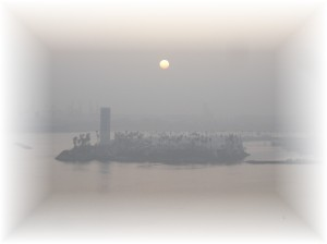 Hazy Evening Over the Port of Long Beach