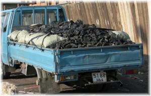 Coal sold at roadside in Ulaanbaatar Mongolia