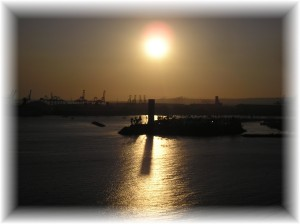 Long Beach port and oil island - major source of pollution for LA Basin
