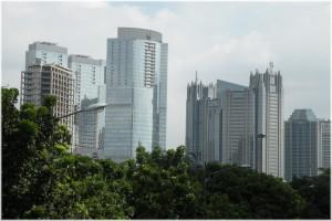 Skyline near the Jakarta Stock Exchange